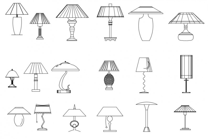 Multiple table and night lamp elevation blocks cad drawing details dwg file