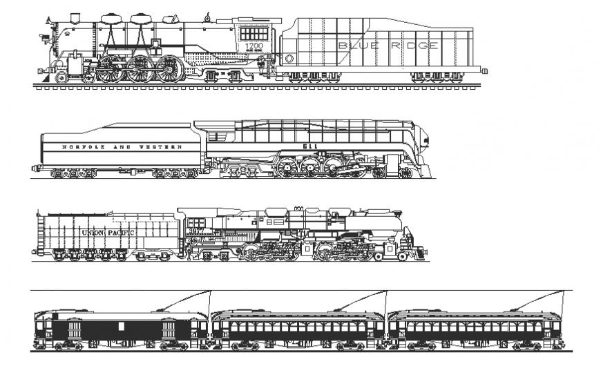 Multiple train blocks cad drawing details dwg file