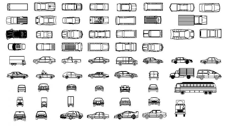 Multiple transportation blocks of vehicle units 2d view autocad file