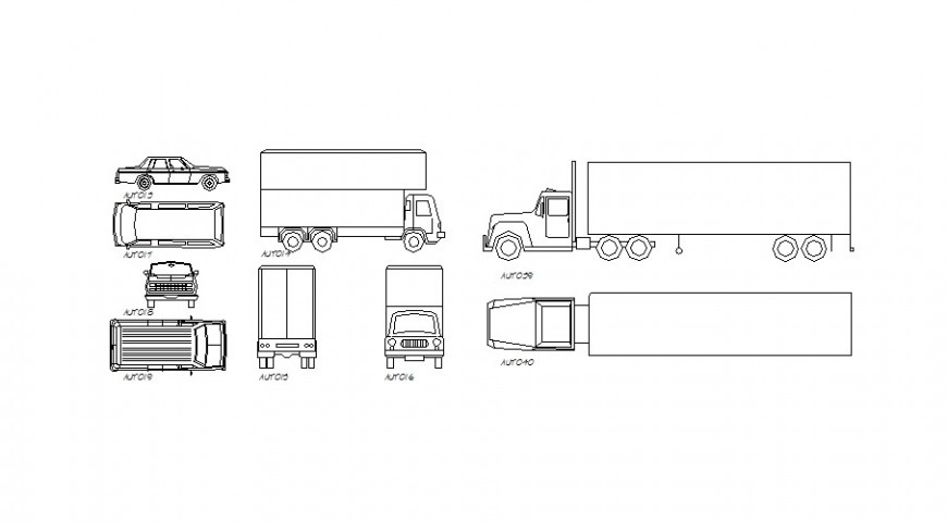Multiple truck and car blocks cad drawing details dwg file