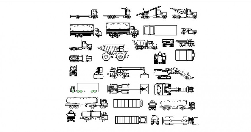 Multiple trucks and transportation vehicles cad drawing details dwg file