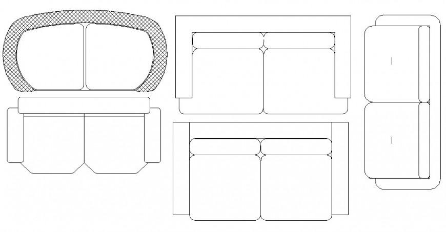 Multiple two seated sofa set blocks cad drawing details dwg file
