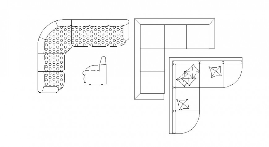 Multiple v shape sofa set blocks cad drawing details dwg file