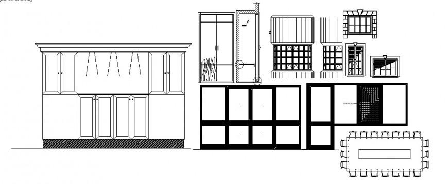 Multiple windows, wardrobe and furniture blocks cad drawing details dwg file