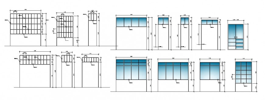 Multiple windows elevation and section blocks cad drawing details dwg file