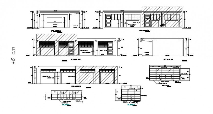Multiple wooden cabinets and school furniture cad drawing details dwg file