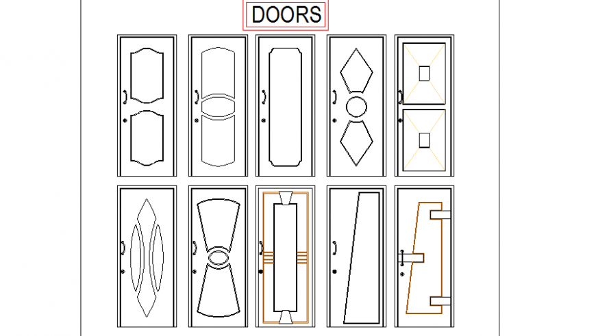 Multiple wooden doors elevation cad blocks details dwg file