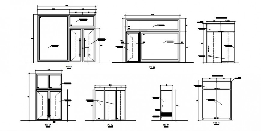 Multiple wooden doors elevation cad drawing details dwg file