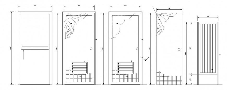 Multiple wooden house doors 2d blocks cad drawing details dwg file