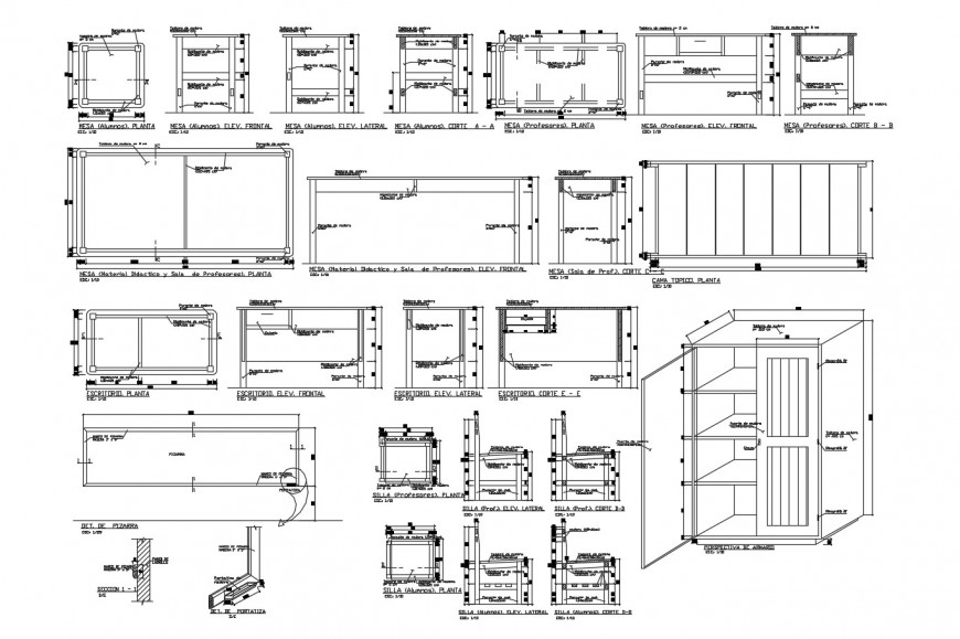 Multiple wooden school furniture elevations and carpentry details dwg file