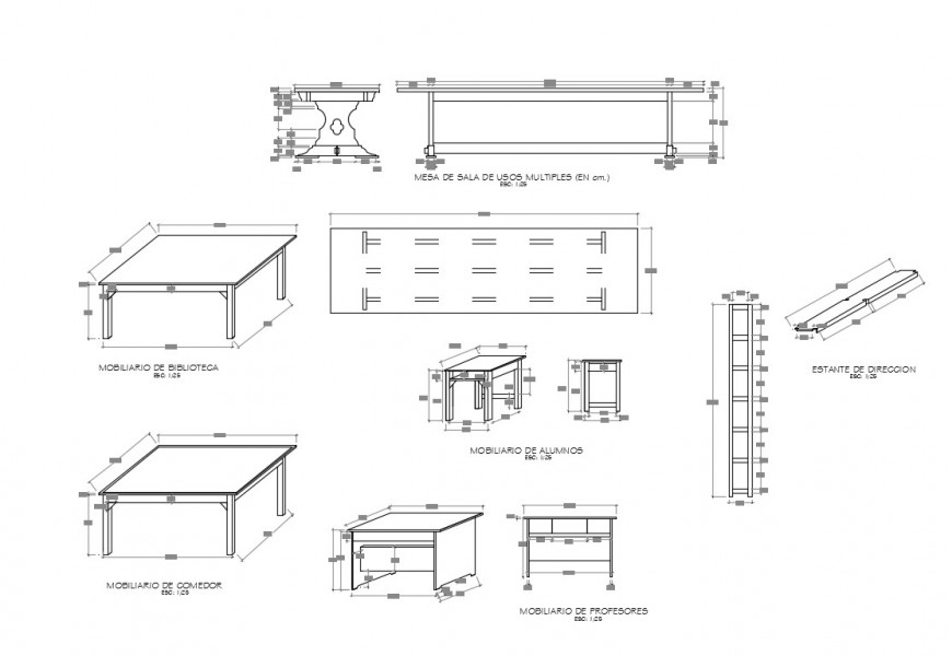 Multiple wooden table elevation and plan cad drawing details dwg file