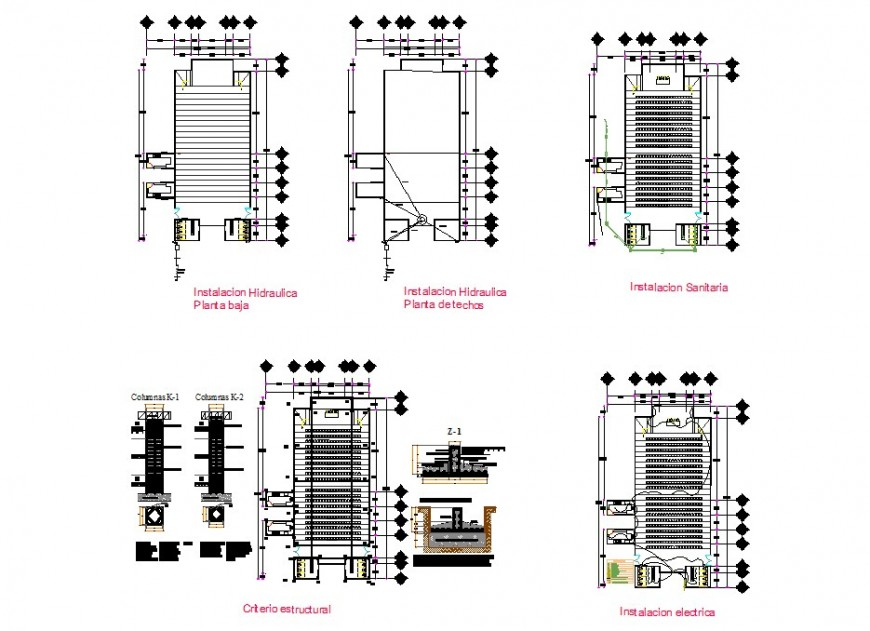 Multiplex building 2d view CAD construction block detail layout plan in dwg format