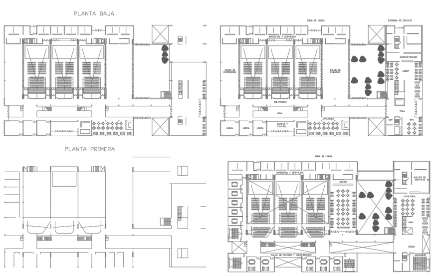 Multiplex layout plan in dwg AutoCAD file.