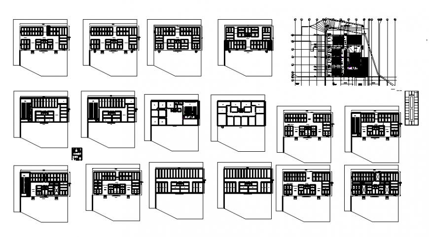 Multiplex theater all floors floor plan layout details dwg file