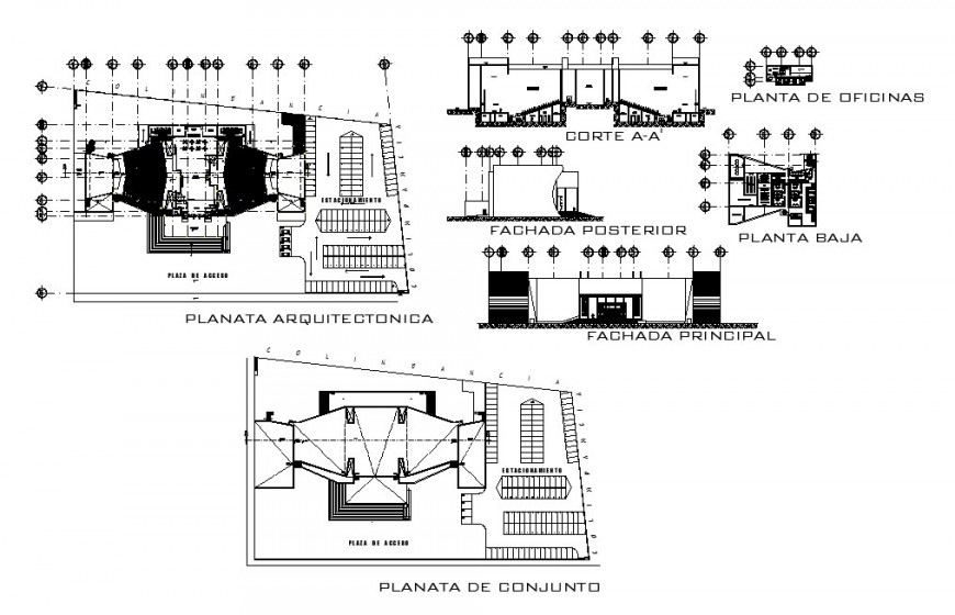 Multiplex theater all sided elevation, section, floor plan and auto-cad drawing details dwg file