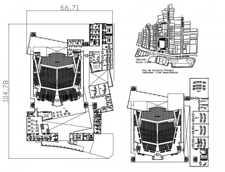 Multiplex theater distribution plan and structure drawing details dwg file