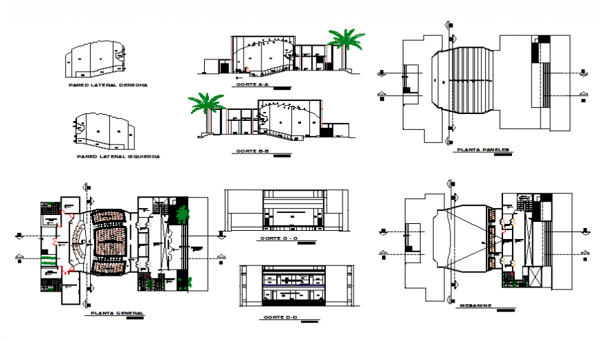 Multiplex theater elevation, section and floor plan and auto-cad details dwg file