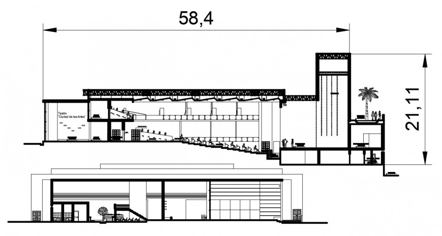Multiplex theater front and back section 2d drawing details dwg file