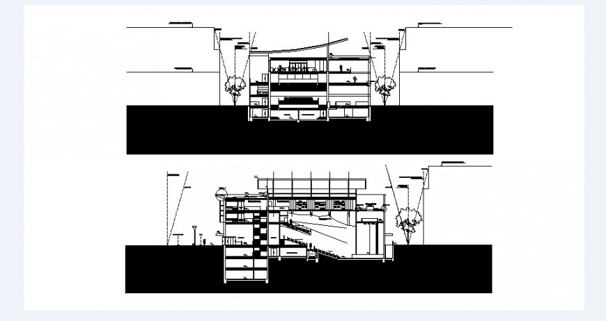 Multiplex theater front and back section cad drawing details dwg file