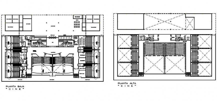 Multiplex theater ground and first floor distribution plan drawing details dwg file