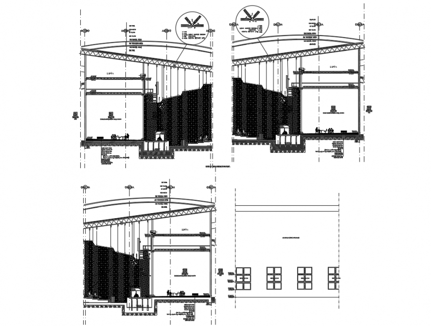 Multiplex theater sectional constructive details dwg file