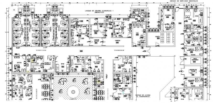Multispecialty hospital plan drawing in dwg file.