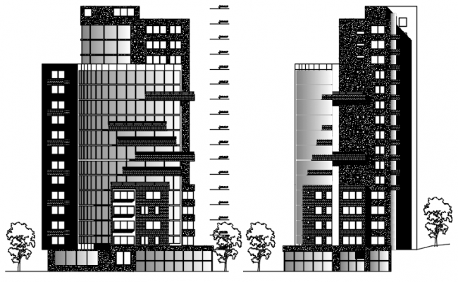 multistorey hotel building with elevation in dwg file