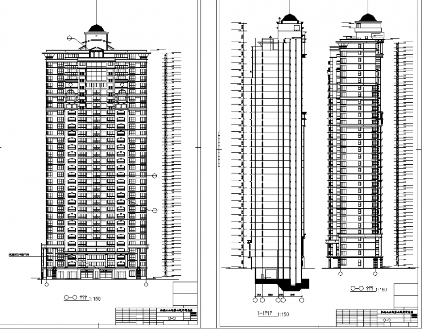Multistory Apartment section and elevation drawing in dwg file.