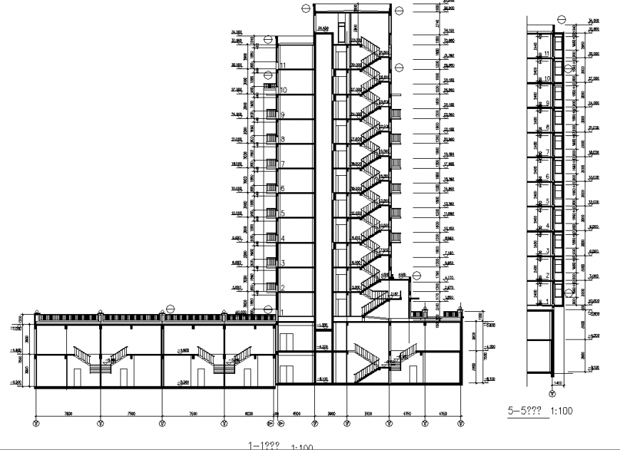 Multistory Apartment section drawing in dwg file.