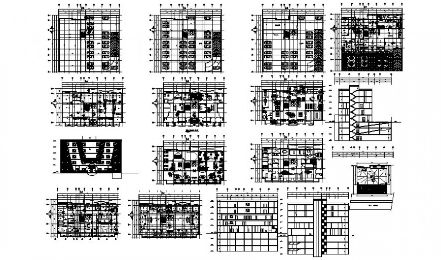 Multistory building work plan elevation and section dwg file