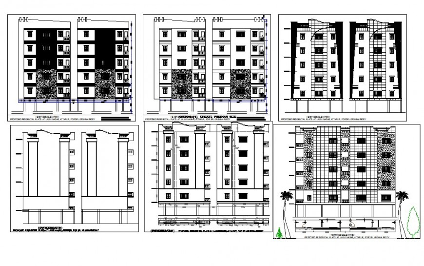 Multistory high rise building detail 2d view CAD structural block layout dwg file