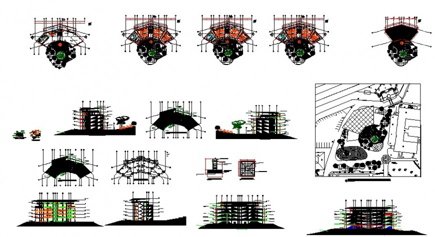 Multistory high rise building details plan elevation and section autocad file
