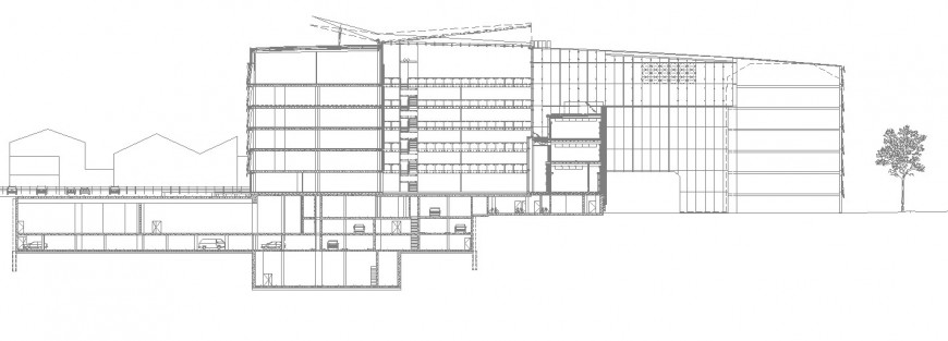 Multistory industrial building section drawing in dwg file.
