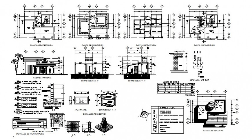 Municipal agency building work plan elevation and section in autocad
