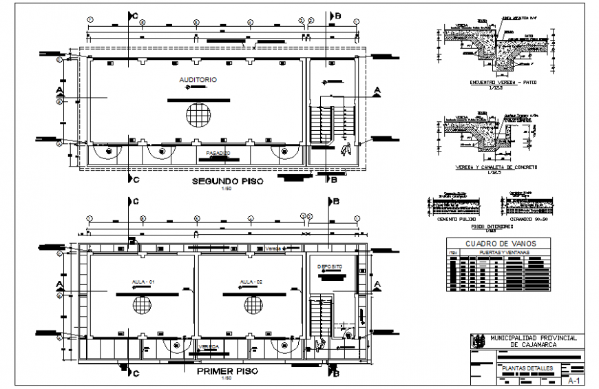 Municipal building detail elevation and plan dwg file