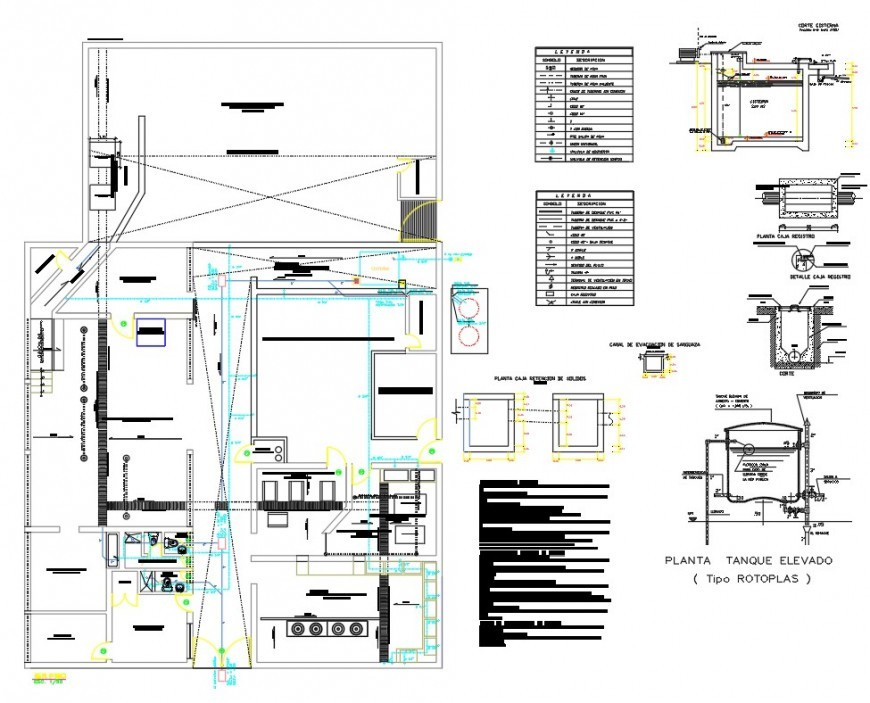 Municipal camal plan and section dwg file