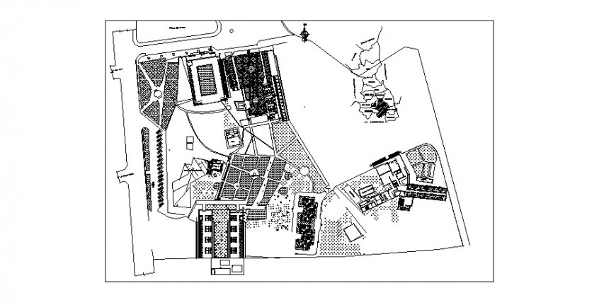 Municipal district office building distribution plan cad drawing details dwg file