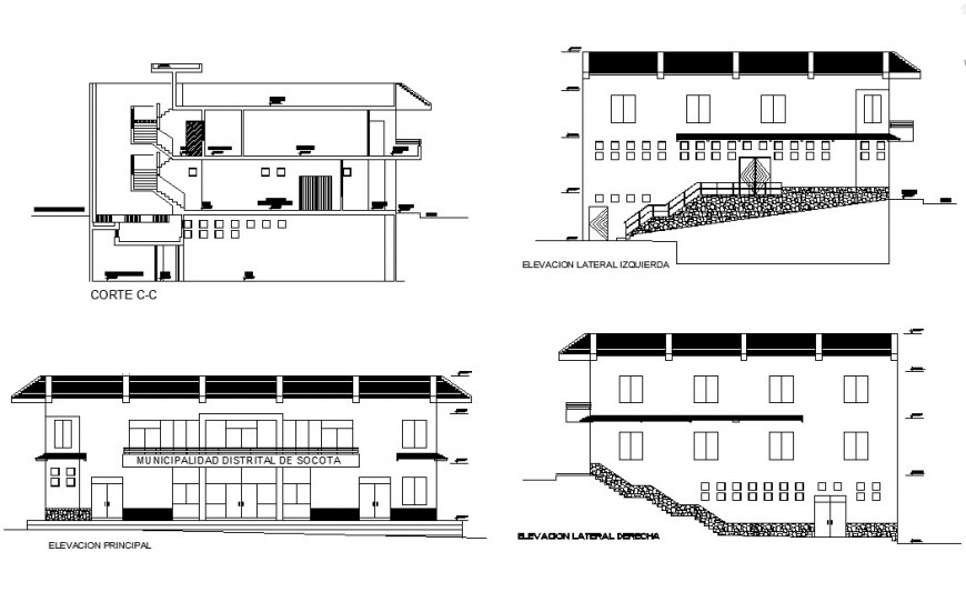 Municipal district office building elevation and section cad drawing details dwg file