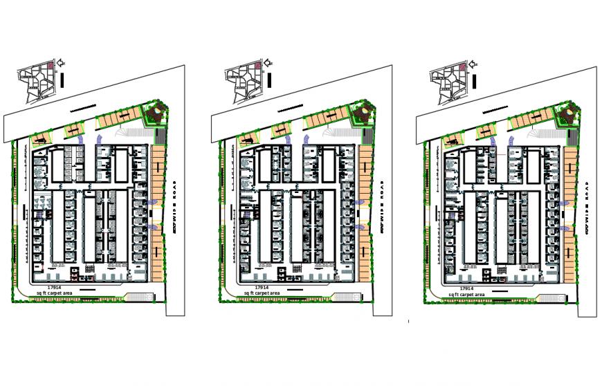 Municipal hospital floors layout plan cad drawing details dwg file