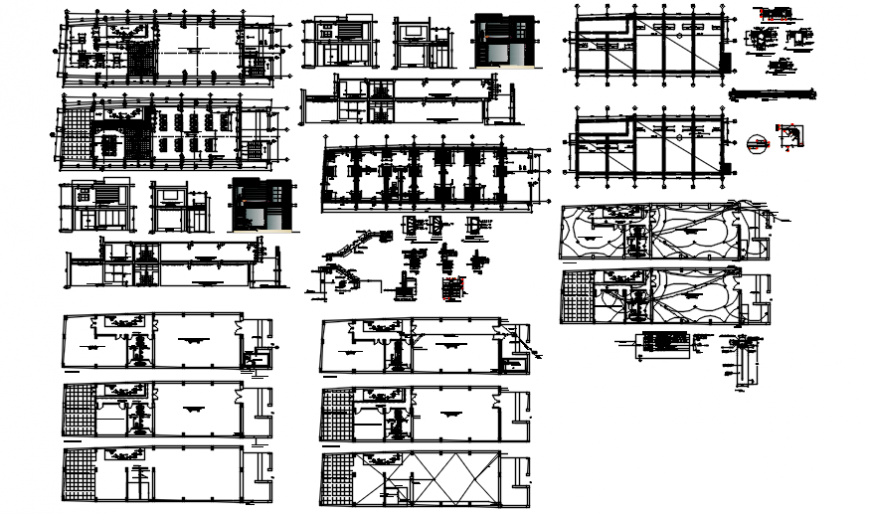 Municipal library floor plan and elevation with detail in auto cad
