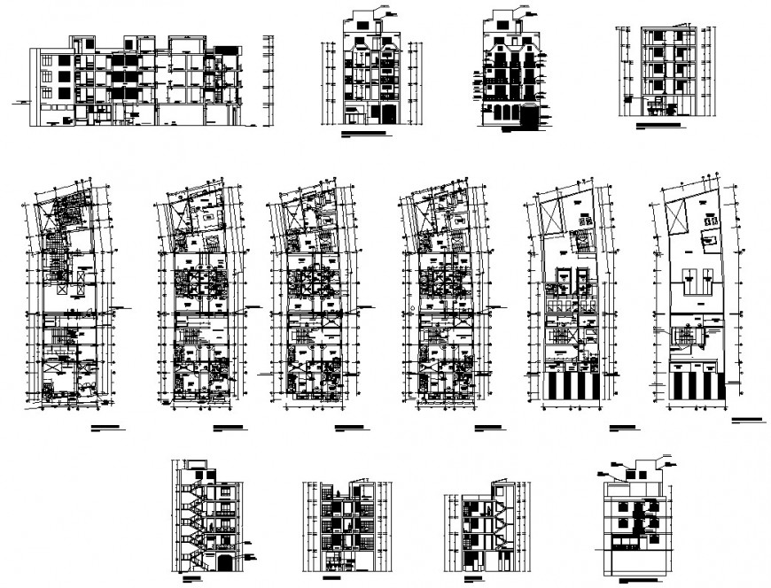 Municipal market building structure detail plan, elevation and section 2d view layout autocad file