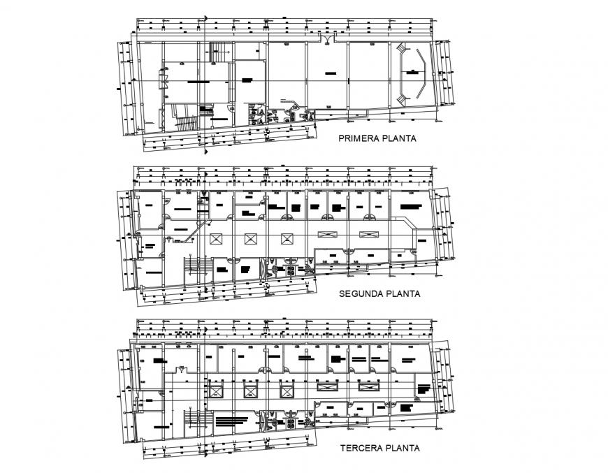 Municipal office building floor plan distribution cad drawing details dwg file