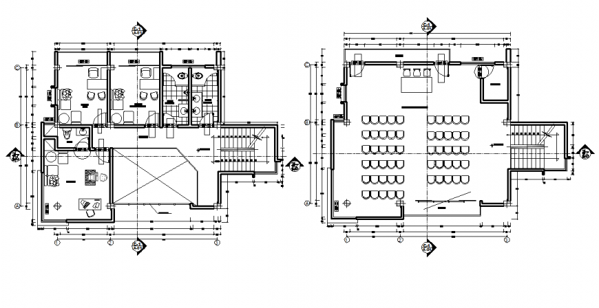 Municipal office two floor plan distribution drawing details dwg file
