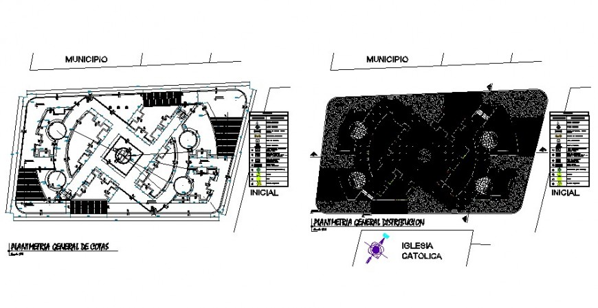Municipal park general architecture plan and landscaping structure details dwg file