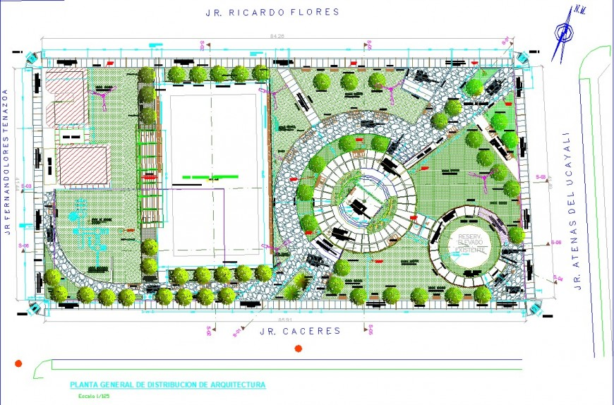 Municipal park site plan drawing in dwg file.