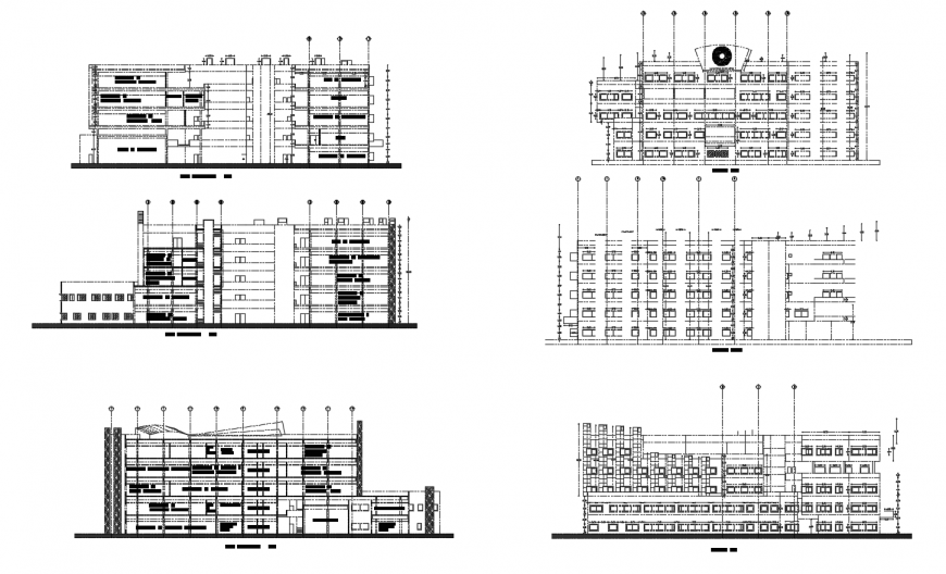 Municipal residential building all sided elevation and section drawing details dwg file