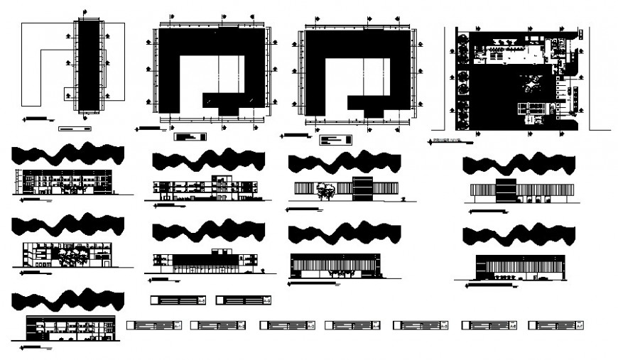 Municipality building drawings details plan and elevation autocad file