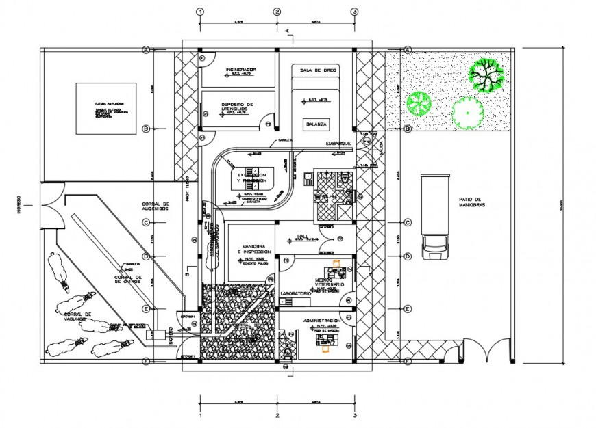 Municipality halter house 2d view CAD drawing plan dwg file