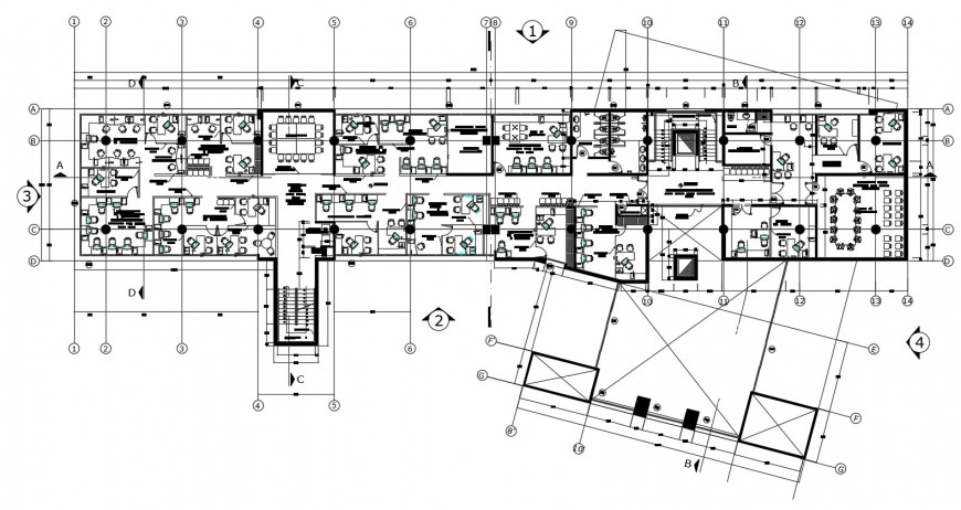 Municipality office distribution plan with furniture drawing details dwg file