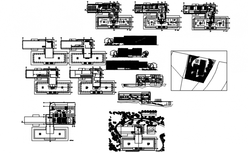 Museum building all sided elevation, section and floor plan cad drawing details dwg file